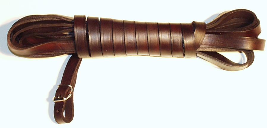 Barvářská šňůra plochá šíře 14mm hnědá – ukončení přezkou 10m